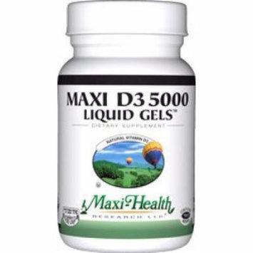 Maxi Health D3 5000mg Liquid Gels - Natural Vitamin D3 - Nutrition Supplement - 90 Capsules - Kosher