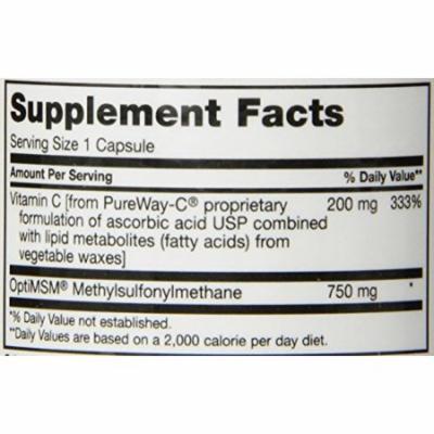 Maxi Health MSM Pureway Vitamin C Complex - Allergy, Joint & Detox Formula - 60 Capsules - Kosher