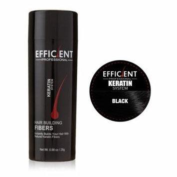 EFFICIENT Keratin Hair Building Fibers, Hair Loss Concealer Net Wt. 28gm / 0.98 oz (Black)