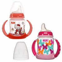 NUK 2 Count Pretty In Pink Leaner Cup, 5 oz, Hot Air Balloon/Butterfly