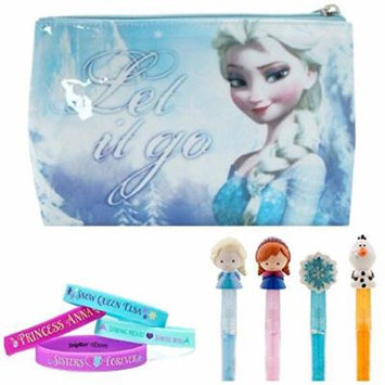 Disney Frozen Kids Travel Set - Elsa Cosmetic Bag, Girls Bracelets and Lip Gloss Assortment