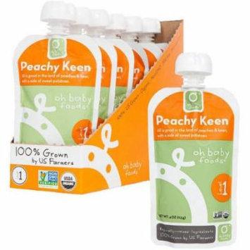Oh Baby Foods Organic Peachy Keen Baby Food, 4 FL OZ (Pack of 6)