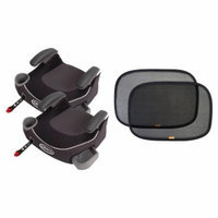 2 Graco Affix Backless Booster Car Seats with Free Sun Shades, Davenport