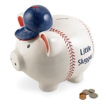 Mud Pie Baby All Boy Little Slugger Ceramic Piggy Bank