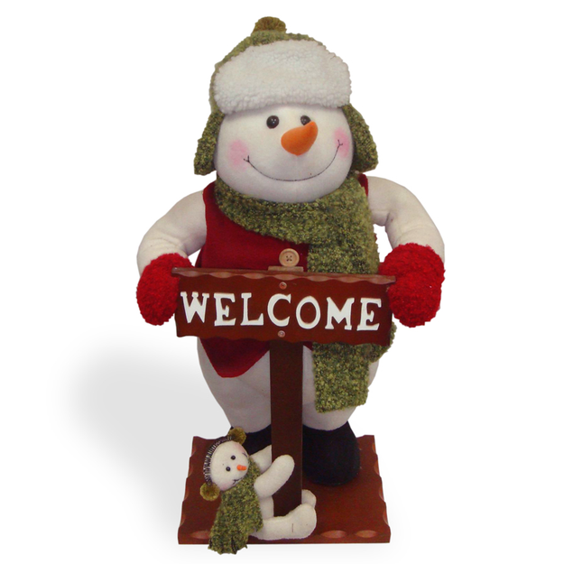 Christmas Decorations: Snowman with Welcome Sign