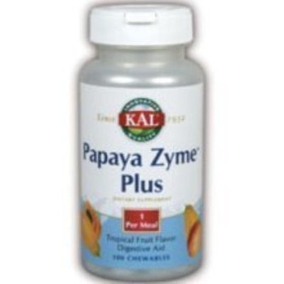KAL - Papaya Zyme Plus, 200 mg, 100 tablets