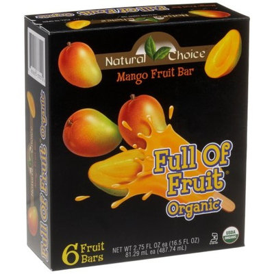 Natural Choice Foods Organic Frozen Mango Fruit Bars,6-Count, 16.5-Ounce Boxes (Pack of 3)