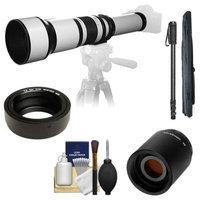 Samyang 650-1300mm f/8-16 Telephoto Lens (White) with 2x Teleconverter (=650-2600mm) + Monopod Kit for Olympus OM-D EM-5, Pen E-P2, E-P3, E-PL2, E-PL3, E-PM1 & Panasonic Micro 4/3 Digital Cameras