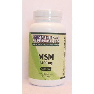 MSM 1000 MG No Chinese Ingredients American Supplements 180 Tabs