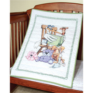 Fairway Needlecraft Stork Stamped Baby Quilt Top, 36