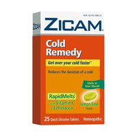 Zicam Cold Remedy RapidMelts with Vitamin C & Echinacea Tablets, Lemon-Lime, 25-Count Box