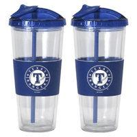 Boelter Brands MLB Rangers Set of 2 No Spill Straw Tumbler - 22oz