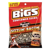 BIGS Bacon Salt Sizzlin' Bacon Sunflower Seeds, 5.35-Ounce Bag(Pack of 12)
