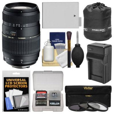 Tamron 70-300mm f/4-5.6 Di LD Macro 1:2 Zoom Lens with LP-E8 Battery & Charger + 3 Filters + Pouch + Kit for Canon Rebel T3i, T4i, T5i DSLR Cameras