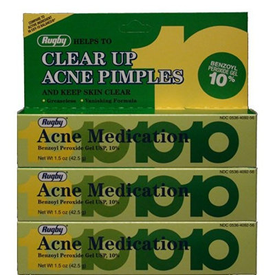 Rugby Benzoyl Peroxide 10% Generic for Oxy-10 Balance Acne Medication Gel 1.5oz 3 Pack, 3 Count