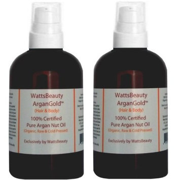 Watts Beauty WattsBeauty ArganGold 100% Pure Virgin Argan Oil 2oz + WattsBeauty Hyaluronic Acid Enhanced with Vitamin C and L Arginine Face Serum 2oz - Used Together, These 2 Popular Products Enhance Effectiveness for Maximum Results - Works Wonders on Dull, Dry, Aging Skin, Wrinkles, Scarring, Fine Lines, Age Spots, Uneven Skin Tone, Blemishes & Much More - Combo Set