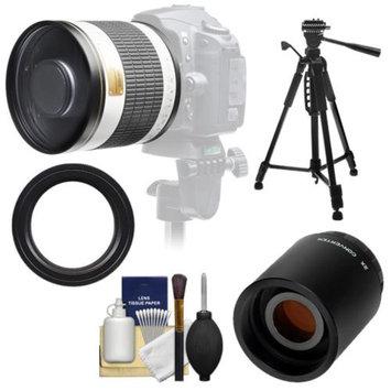 Samyang 500mm f/6.3 Mirror Lens (White) with 2x Teleconverter (=1000mm) + 58