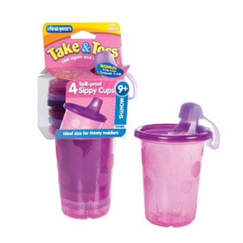 The First Years Take & Toss Spill-Proof Sippy Cup, Pink, 4 ea