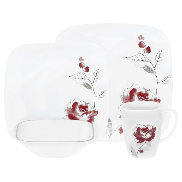 World Kitchen, Inc. Corelle Square Blushing Rose 16-pc. Dinnerware Set