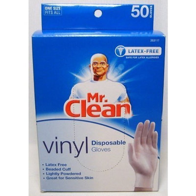 Mr Clean MR. CLEAN Latex Free VINYL Disposable Cleaning Gloves with BEADED CUFF (50 Co...