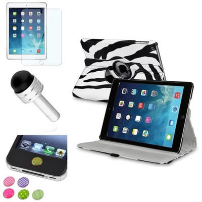 Insten INSTEN White/Black Zebra 360 Leather Case Cover+Protector/Sticker For Apple iPad Air 5 5th