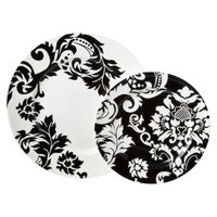 Utana Damask 16 Piece Dinnerware Set - Black/White