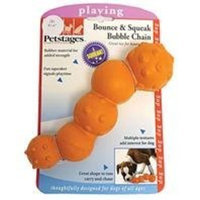 Petstages Bounce and Squeak Bubble Chain Orange Dog Playing Toy