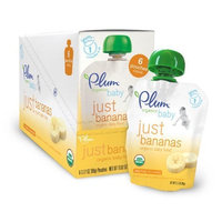 Plum Organics Just Fruit, Bananas, 3.17-Ounce Pouches (Pack of 12)