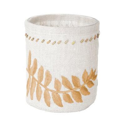 Lazy Susan White Linen Gold Stitched Fern Votive -Sm