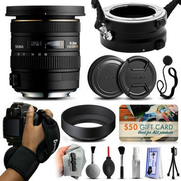 47th Street Photo Sigma 10-20mm F3.5 EX DC HSM Lens for Canon (202101) with Exclusive Dual Lens Holder/Flipper + Wrist Strap + Cap Keeper + Deluxe Lens Cleaning Kit + $50 Gift Card for Prints