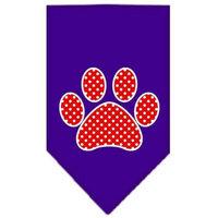 Ahi Red Swiss Dot Paw Screen Print Bandana Purple Large
