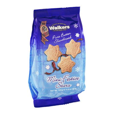 Walkers Pure Butter Shortbread Cookies Mini Festive Stars
