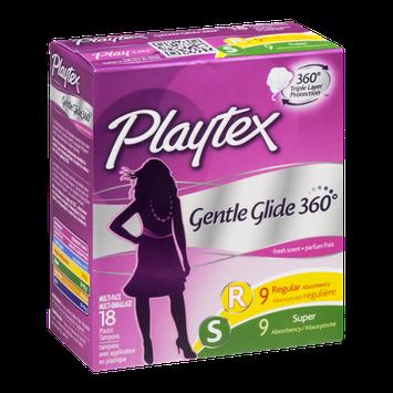 Playtex Plastic Tampons Gentle Glide 360 Multi-Pack Regular/Super Fresh Scent - 18 CT