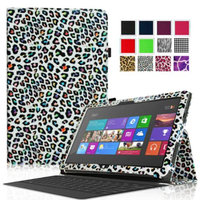 Fintie Folio Leather Case Cover for Microsoft Surface RT / Surface 2 10.6 inch Tablet, Leopard Rainbow
