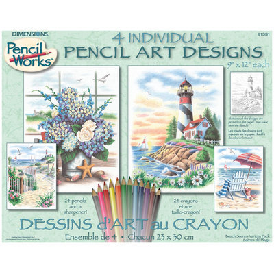 Dimensions Pencil Works Color By Number Kit - Beach Scenes