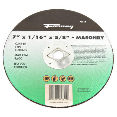 Forney 72314 Cut-Off Wheel Type 1 Masonry with 5/8-Inch Arbor C24R-BF 7-Inch-by-1/16-Inch