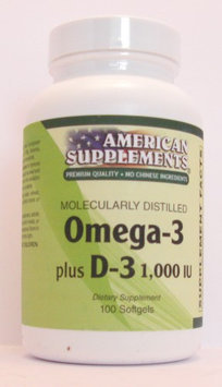 Omega-3 Plus D-3 1,000 IU No Chinese Ingredients American Supplements 100 Softg