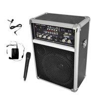 Pyle Dual Channel 400 Watt Wireless PA System W/USB/SD/MP3, 2 VHF Wireless Microphones (1 Lavalier, 1 Handheld)