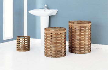 Oia Havana Round Hampers with Wastebasket, Set of Three
