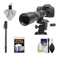 Rokinon 500mm f/8 Telephoto Lens with 2x Teleconverter (=1000mm) + Monopod Kit for Canon EOS 60D, 7D, 5D Mark II III, Rebel T3, T3i, T4i Digital SLR Cameras