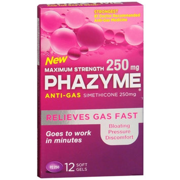 Phazyme Maximum Strength 250mg Anti-Gas Simethicone Soft Gels, 12 ea