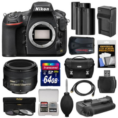 Nikon D810 Digital SLR Camera Body with 50mm f/1.4 Lens + 64GB Card + 2 Batteries + Charger + Case + GPS Adapter + Grip + Kit