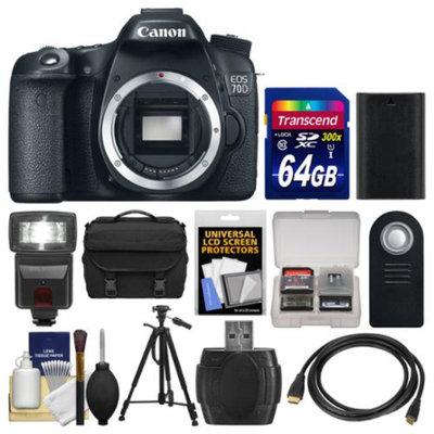 Canon EOS 70D Digital SLR Camera Body with 64GB Card + Case + Flash + Battery + Tripod + Remote + Accessory Kit