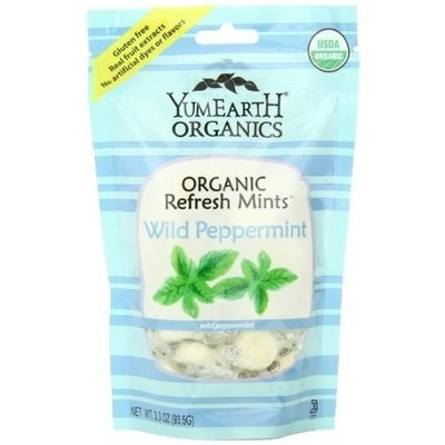 Yummyearth YumEarth Organic Wild Peppermint Drops, 3.3 Ounce Pouches (Pack of 6)