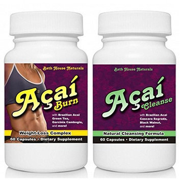 Bathhouse Naturals Acai Berry Weight Loss Diet Fat Burner combo 2pk Diet Pills 120 capsules Includes Acai Berry Burn & Cleanse detox use together for best results