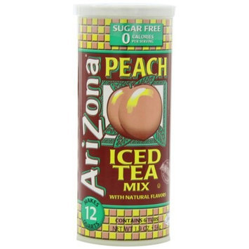 AriZona Sugar Free Peach Iced Tea Mix, 1.9-Ounce Tubs in Cannister (Pack of 4)
