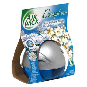Air Wick Decosphere Air Freshener, Linen & Cotton Flower, 2.5-Ounce Air Fresheners (Pack of 6)