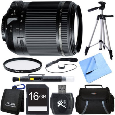 Tamron 18-200mm Di II VC All-In-One Zoom Lens for Nikon Mount 16GB Memory Card Bundle