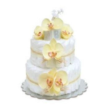 Small Yellow Orchids Diaper Cake by Bloomers