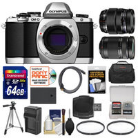Olympus OM-D E-M10 Micro 4/3 Digital Camera Body (Silver) with 12-40mm & 40-150mm ED Lenses + 64GB Card + Case + Battery + Tripod Kit